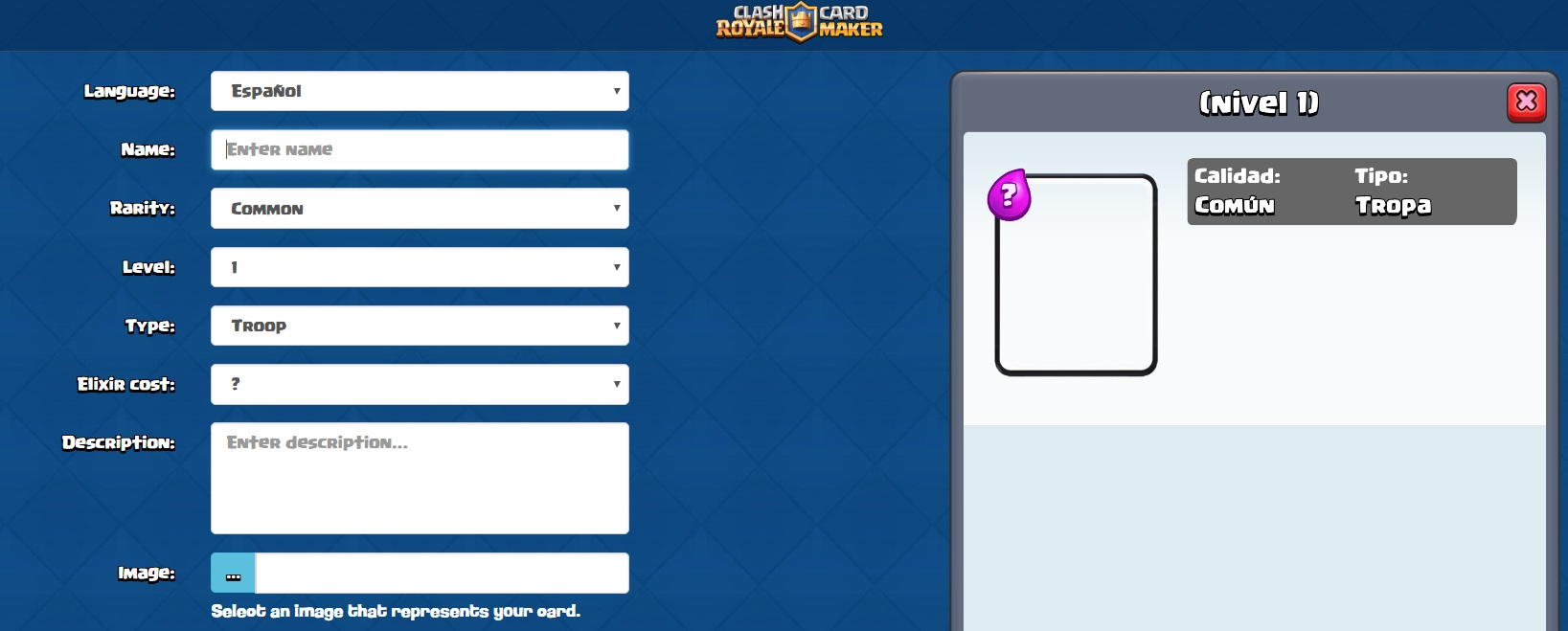 La Web Para Crear Cartas De Clash Royale App Card Maker
