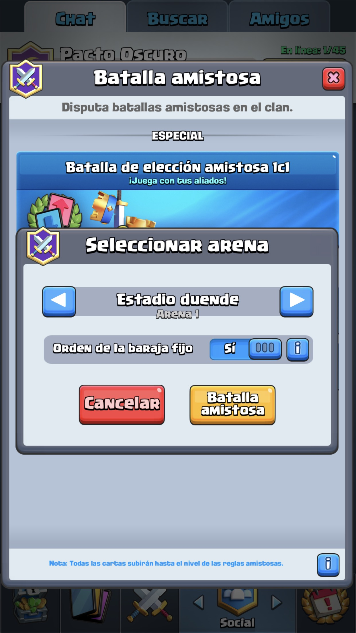 Batallas Amistosas Ciclo Clash Royale