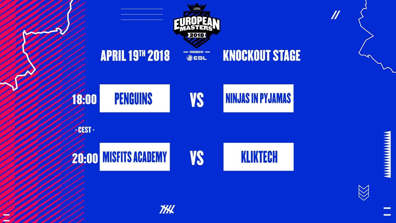 Horario bracket European Masters