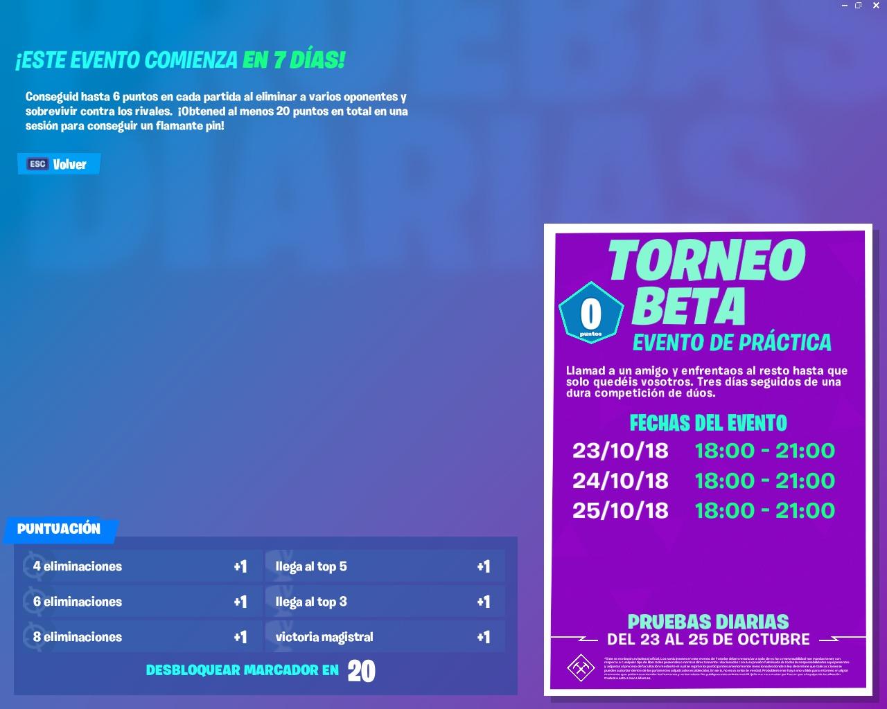 torneo beta - puntos torneo arena fortnite