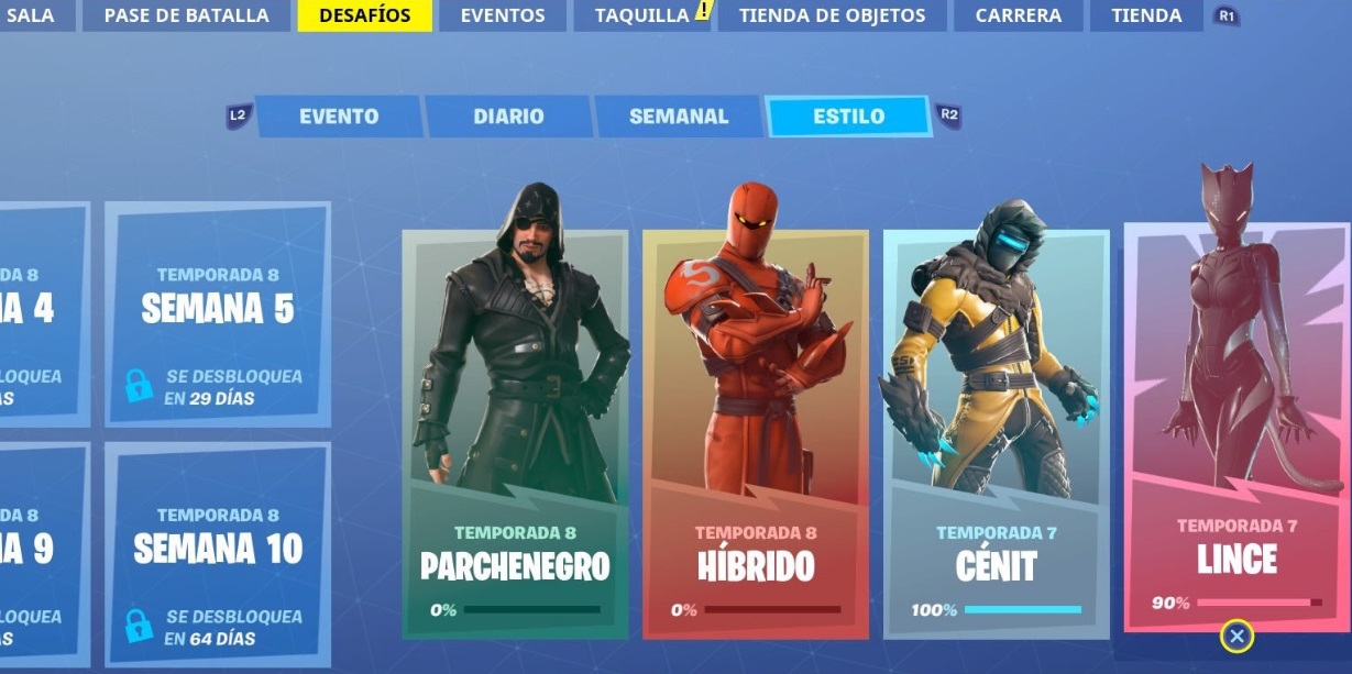 Menú Fortnite Temporada 8