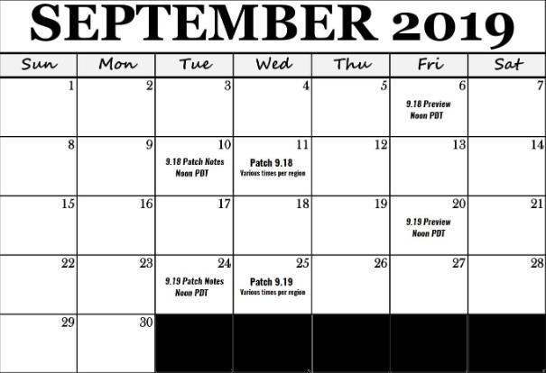 calendario septiembre TFT parches