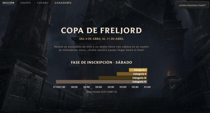 Los horarios de Clash en la Copa Freljord