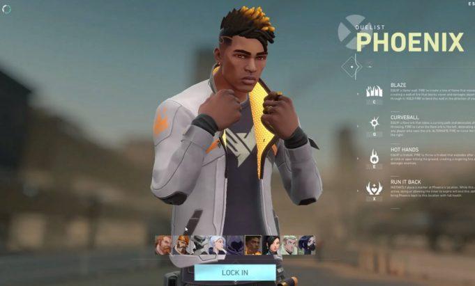 Phoenix, en la pantalla de selección de personajes de Valorant