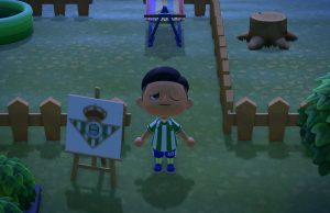 La equipación del Betis en Animal Crossing.