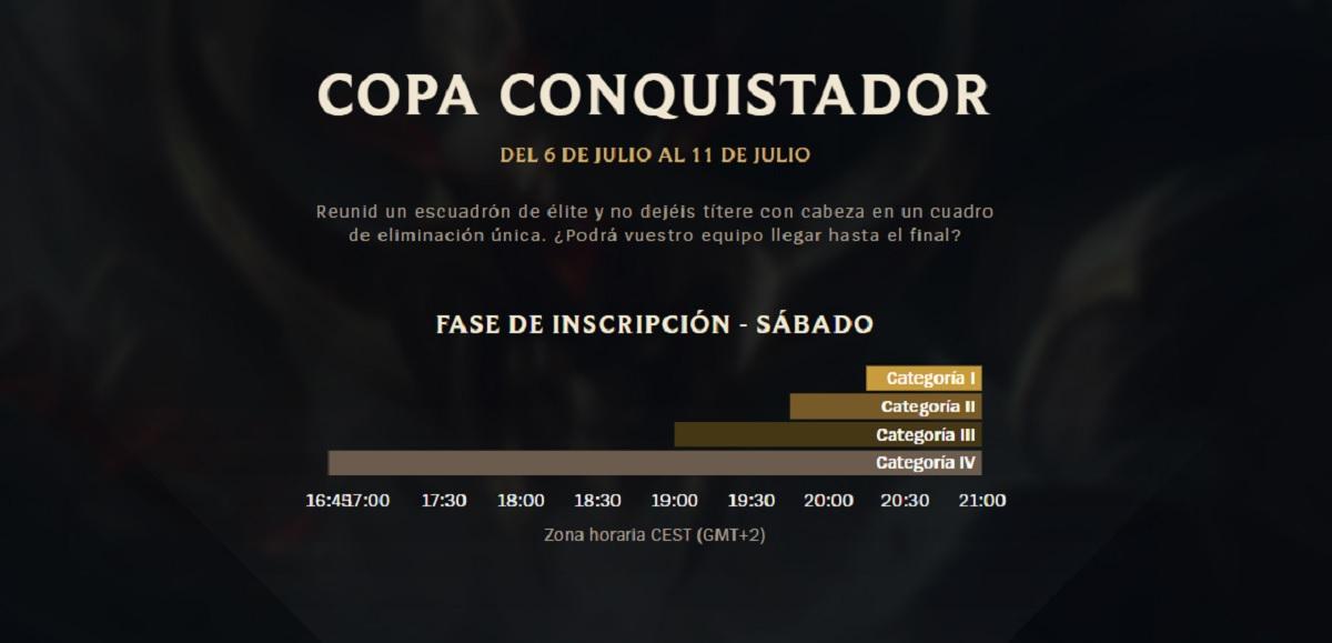 Horarios Clash Copa Conquistador