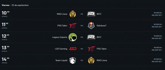Worlds 2020 horarios Play-In