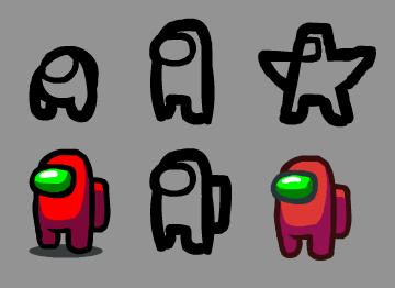 Los diseños iniciales de Among Us