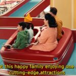 La familia montada en la atracción del Starr Park