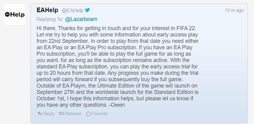 EA Play, FIFA 22